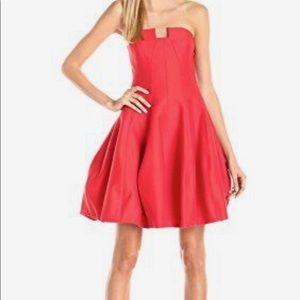 Halston Heritage lipstick red strapless dress